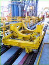 25-ton Riser pipe handling trolley / cart - Hydraulic